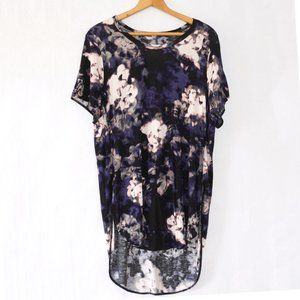 Aritzia Wilfred Purple Abstract Floral Tunic Top L